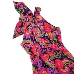 J. Crew Silk Pink Black Bow High Neck Dress